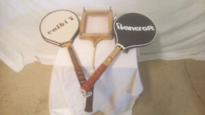 WOODEN RACQUETS INCLUDING BANCROFT SIGNATURE BILLIE JEAN KING