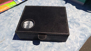 Black leather trinket box
