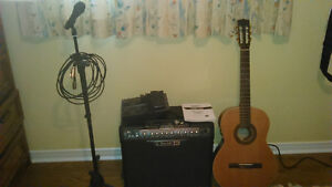 Guitar, amp, pedal, mic w/stand