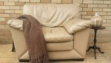 Leather Lounge Couch Sofa & Matching Armchair Beige Cream Coogee Eastern Suburbs Preview