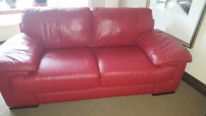 Stunning red Italsofa  couch, chair and ottoman set