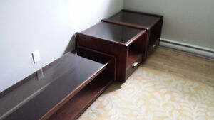 Solid Wood Coffee Table and End Tables with Glass Top