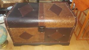 "Wood and Leather storage chest 15"" by 25"" by 15""."