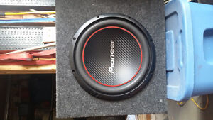 Full car audio setup with Sub, amp, deck and wires