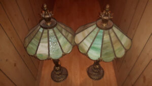 Pair of fancy table lamps gold and green glass