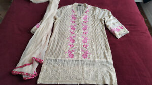 Agha Noor skin color floral embroidered kurta