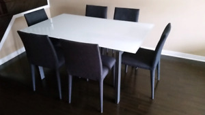 Unique Modern White Opaque Glass Dining Set w/6 Chairs - MINT!!
