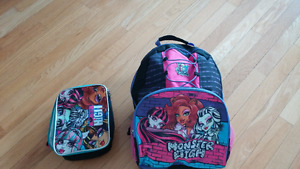 Monster High backpack and lunchbox