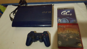 Collectible blue ps3 slim with matching controller