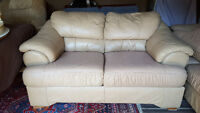 Genuine Leather Loveseat - Neutral Beige Colour