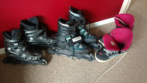 Snowboard boots and rollerblades for sale