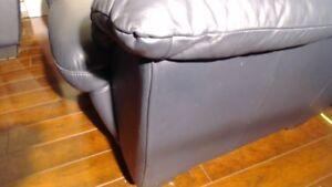 Natuzzi blue leather couch set for sale