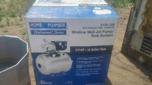 new 3/4 shallow well pump and tank plus 100 ft plastic pipe