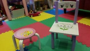 Hand Painted Wood Child/Toddler Chair & Stool