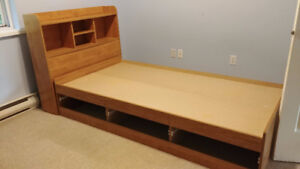 Single bed with shelving headboard and drawers