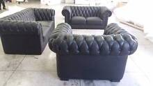 GENUINE LEATHER BUTTON BACK CHESTERFIELD SOFA LOUNGE SUITE 1+2+3 Biggera Waters Gold Coast City Preview