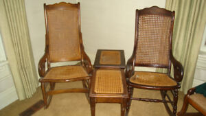 WICKER ROCKING CHAIRS AND SIDE TABLES/STOOLS