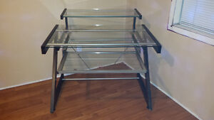 2 Tier Glass desk with keyboard tray