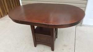Solid Wood Round Dining Room Table With 4 Chairs (With Leaf)