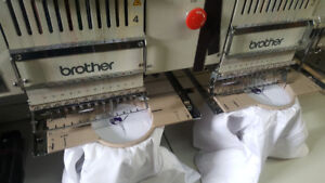 4 head 12 middle brother embroidery machines fully operational