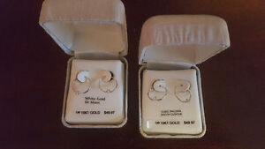 brand new 10k white gold earrings