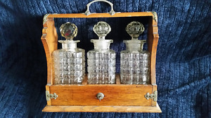 Victorian English Tantalus  Oak with Silver Plate Hardware