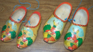 Old wooden painted clogs made in Holland - large pair remain