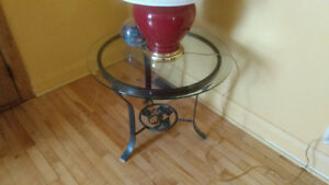 3 Wrought Iron Glass top tables