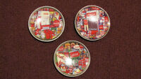3 Coca Cola Brand Collector's Edition Mini Plates With Easels