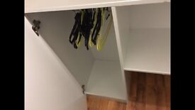 High sleeper bunk bed, wardrobe, storage compartments, desk on in one..