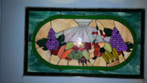 Stained glass panel 31.5 x 18.5 fruit bowl scene