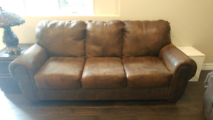 Faux Bomber Jacket Leather Couch