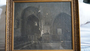 """"""" The Church at Les Baux """" Late 1800's Oil Painting from France"""