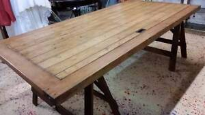 Large Trestle Table / Dining Table - Ex Valley Mills Geelong Geelong City Preview