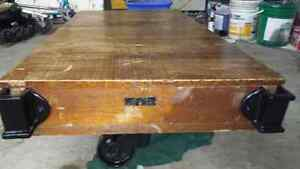 Antique wood cart coffee table London Ontario image 4