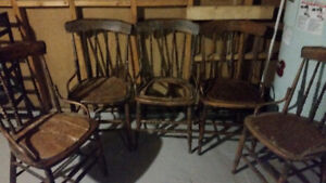 5 chaises antiques début 1900