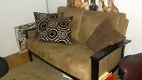 large amoire, loveseat, fixtures and lamps