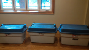 Three X-Large Storage Bins of Girls Clothes