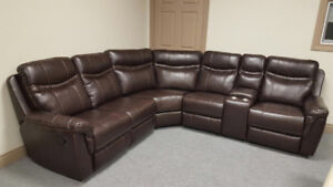 BRAND NEW AIR LEATHER 6 PC RECLINING SECTIONAL