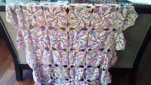 Very Colourful Crocheted Tablecloth, Two Doilies