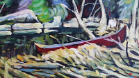 Acrylic Painting on canvas canoe scene