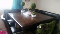 Pub style table with wine and wine glass holders.