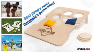 Bru-bag : beanbag toss mixed with beer pong outdoor lawn game!