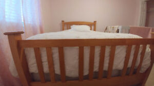 Beautiful Pine Bedframe and Boxspring (Size - Double/Full)