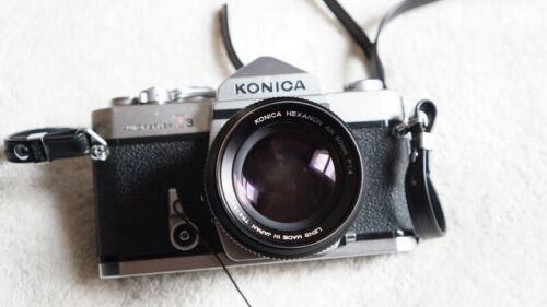KONICA T3 W/ 50MM F1.4, KONICA A BODY WITH 3 EXTRA LENS