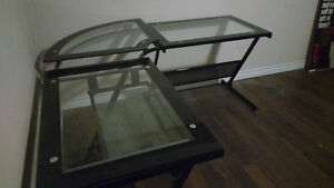 large glass top desk used