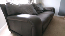 Two Dark Brown Leather Sofas