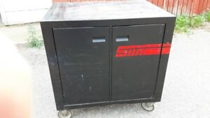 Bench Black Cabinet on Wheels $50