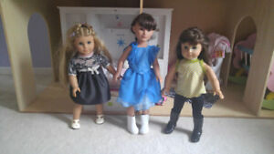 American girl dolls, outfits and house