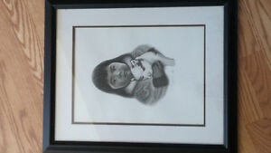 Inuit girl and puppy print